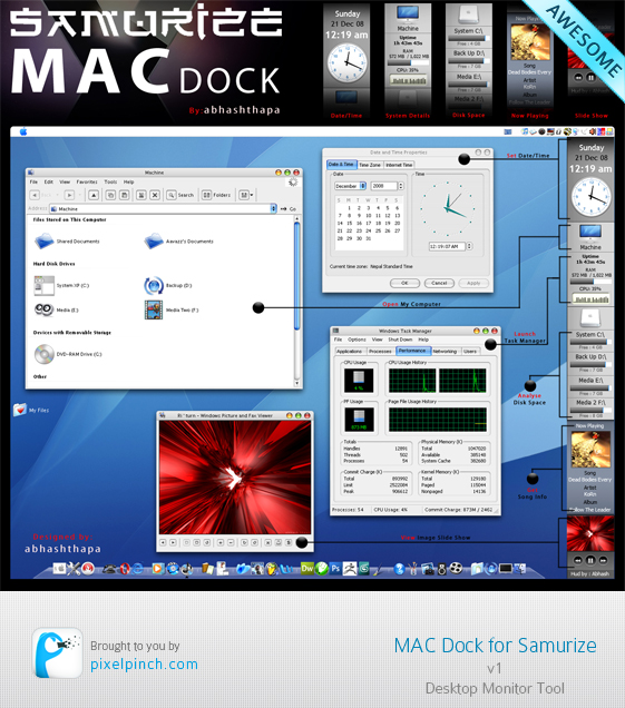 Folder2 Samurize Mac Dock v1 Skin