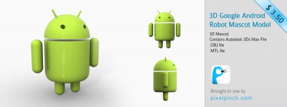 Folder11 3D Google Android Robot or Mascot for $3.50/  Only
