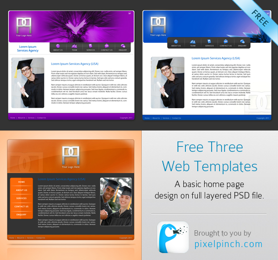 Free 3 Web Templates PSD