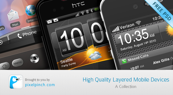 High Quality PSD Layered Mobile Devices