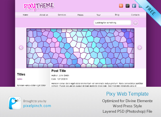 Pixy PSD Web Template for Free
