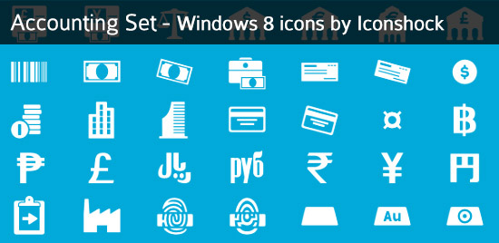 windows8 icons accounting set