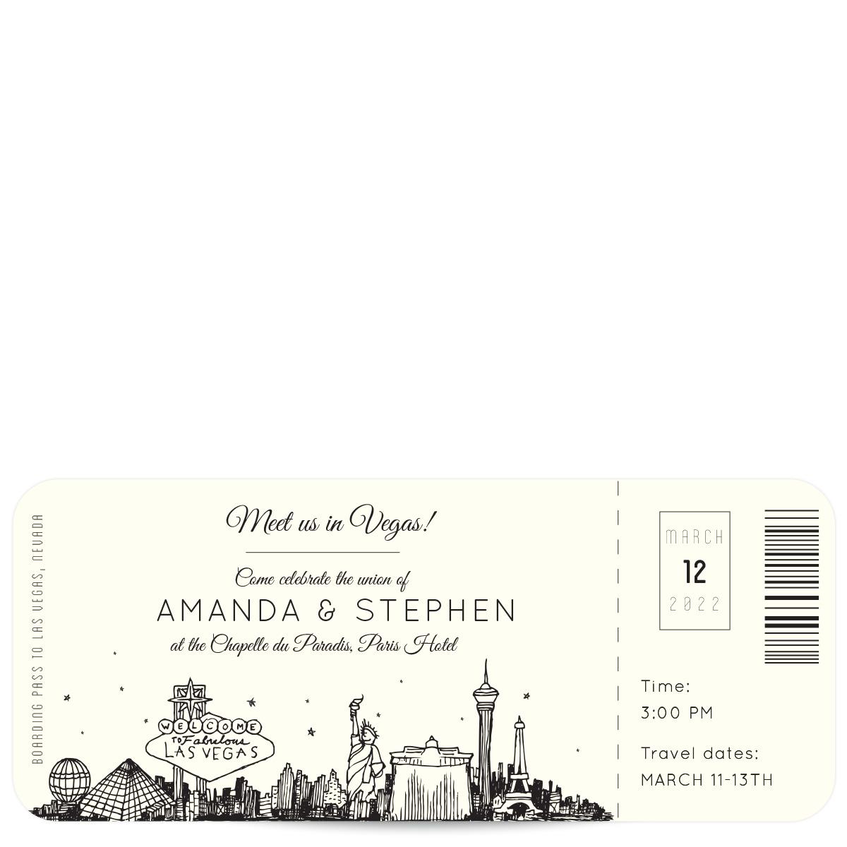 plane ticket to las vegas vegas wedding invitations Plane Ticket Wedding Invitations