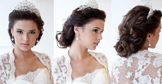 Penteado de noiva estilo princesa: semi-preso com coroa