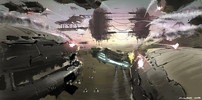 Fondo de escritorio de una batalla en el espacio.