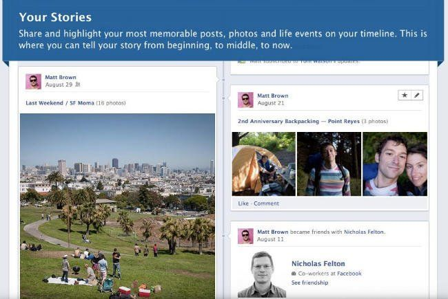 facebook biografia timeline