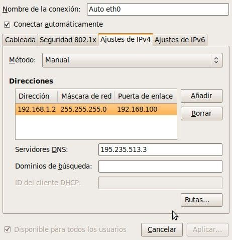 Ajustes de IPv4