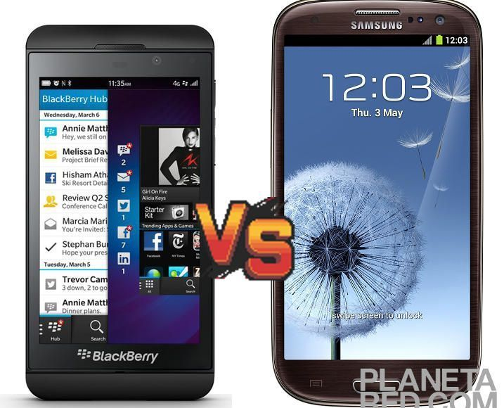 Blackberry Z10 vs Samsung Galaxy S3