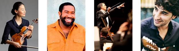 (l-r): Midori, photo by Timothy Greenfield-Sanders; Eric Owens, photo by Dario Acosta;  Jacques Lacombe, photo by Steven Rosen; Avi Avital, photo by Harald Hoffmann.