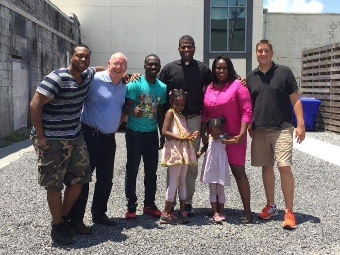 The Stone Hill Church Charleston team (l-r): Ahmed Clark, Tracy Troxel, Antonio Bellamy.  Far right - Mark Catlin. Pastor Dimas Salaberrios of Infinity Bible Church and family in center.