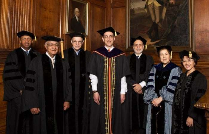 Princeton President Christopher Eisgruber (center) with honorary degree recipients (l-r) Bryan Stevenson, Robert Rivers, Eric Foner, Ben Bernanke, Froma Zeitlin and Shuli Hu. Photo: Denise Applewhite, Office of Communications.
