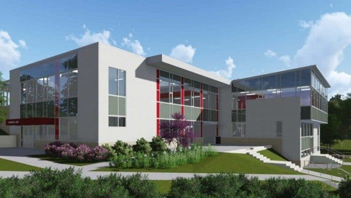 A rendering of the renovated Hun Middle School building.