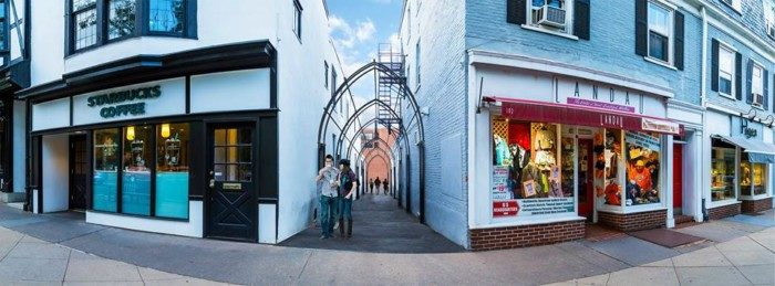 A rendering of the arches welcoming visitors to Dohm Alley.