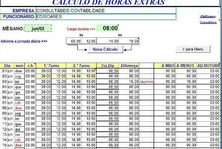 Cálculos de Horas Extras