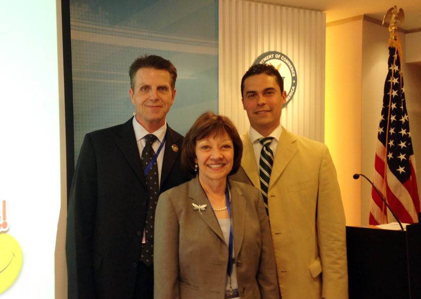 CDFA Secretary Karen Ross with Chris Rosander of the California Raisin Administrative Committee, and US Agricultural Trade Office Director Jorge Sanchez.