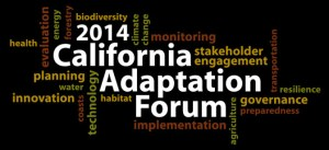 "text cloud around the words ""2014 California Adaptation Forum"""
