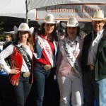 From left: Miss Rodeo California Salinas Jynel Gularte, Miss Rodeo California Brittany Slayton, and Miss Gold Country Pro Rodeo Sydney Elliott, with Bob Fox of PRCA.