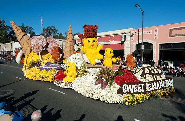 "Cal Poly students built this float, ""Sweet Shenanigans."""