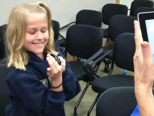 Several students had an opportunity to meet a nematode, up close and personal.