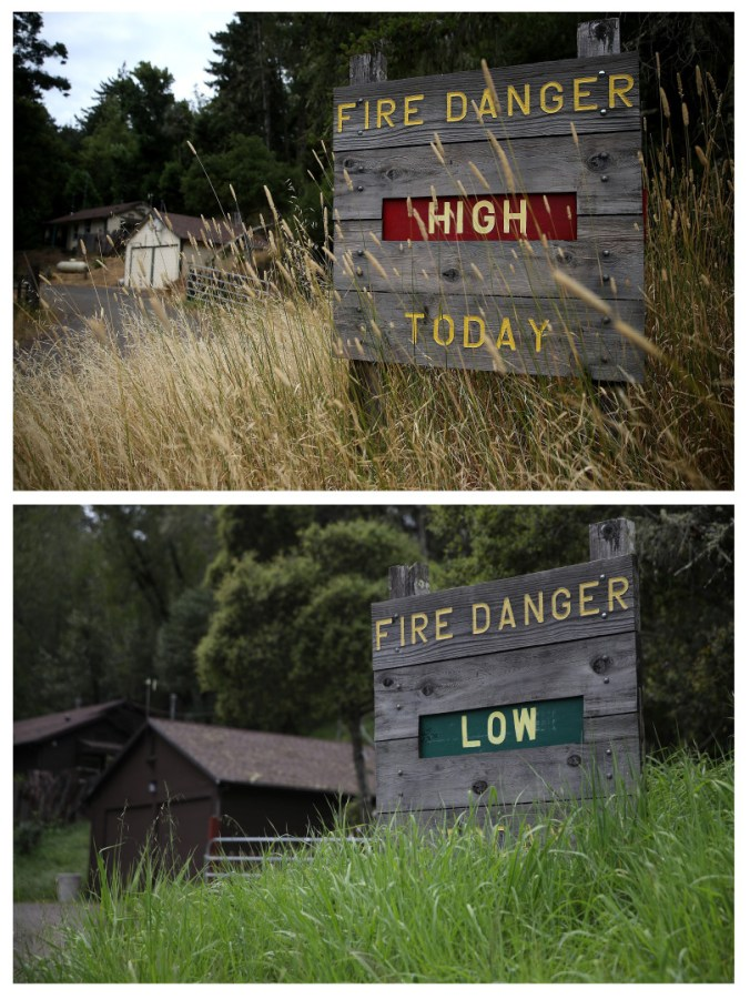JULY 15, 2014: (TOP PHOTO) Dry grasses partially cover a fire danger sign that is posted in Samuel P. Taylor state park on July 15, 2014 in Lagunitas, California.    APRIL 10, 2017: (BOTTOM PHOTO) Grasses partially cover a fire danger sign in Samuel P. Taylor state park. (Photo by Justin Sullivan/Getty Images)