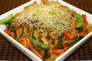 Veggie Stir Fry w/Peanut Sauce (Vegan, Oil-free, Gluten-free)