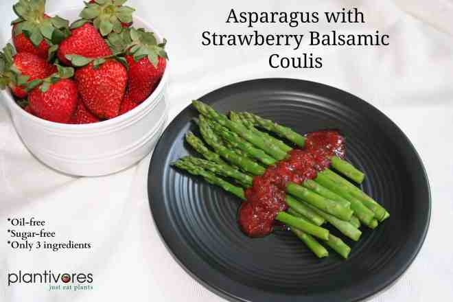 Asparagus with Strawberry Balsamic Coulis. Perfect for Easter or Passover. Impress your friends, look fancy and eat healthy. This has 3 ingredients, no added oil, no added sugar and is vegan and gluten-free | Plantivores