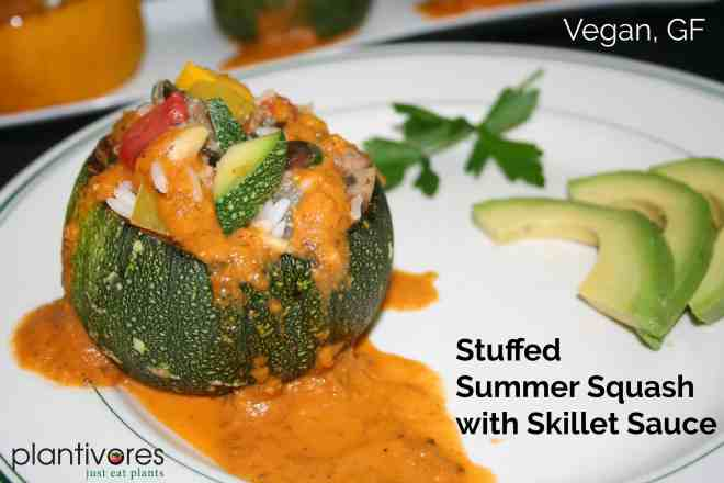 Stuffed Summer Squash with Skillet Sauce