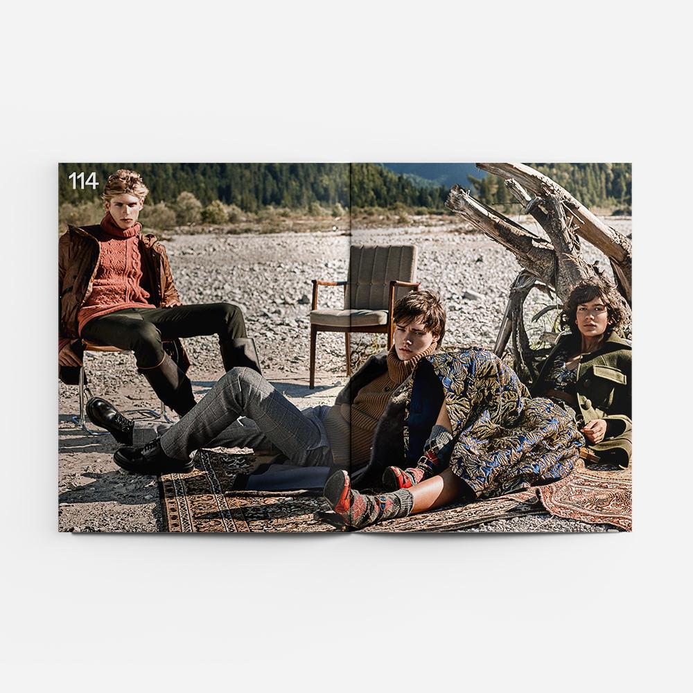 RAPHAEL wears pants & sweater – Hermès, jacket - Y3, boots - Ludwig Reiter; JAN: Total look – Bally, shoes - Louis Vuitton; HARJEET: Total look - Prada