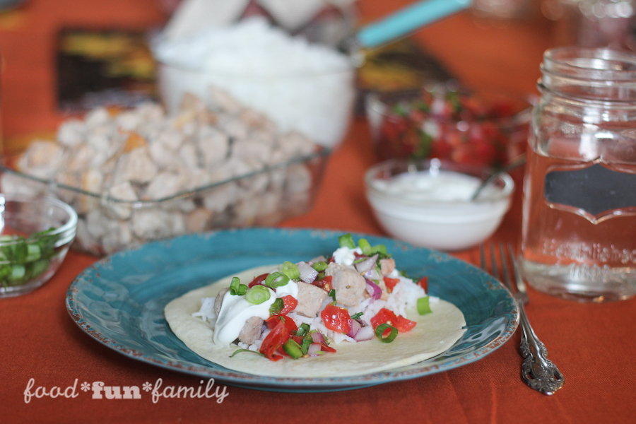 Marinated pork tacos with fresh pico de gallo - an easy family meal that is ready in less than 30 minutes