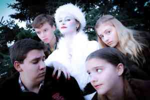 """""""The Lion, The Witch, and The Wardrobe"""" at The Open Window Theatre. Jeremiah Cox as Peter, Mikaela Kurpierz as The White Witch, Josie Axelson as Susan, Madeline Ann Sundheim as Lucy, and Jack Alexander as Edmund. Photo credit Matt Berdahl Photography / Jeremy Stanbary"""