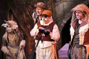"""Jade Grutsch as Unicorn/Wood Nymph, Arnie Roos as Mr. Beaver, Karen Weise-Thompson as Mrs. Beaver, and Peter Simmons as Aslan. """"The Lion, The Witch, and The Wardrobe"""" Photo Credit: Matt Berdahl Photography / Jeremy Stanbary"""