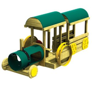 Wood playground tractor wagon