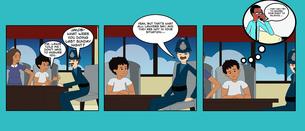 "This is a screenshot from the graphic novel ""The Jakob Jackson Story"" by the Association in Defence for the Wrongly Convicted."