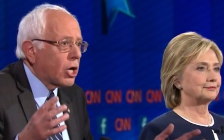 Bernie Sanders and Hillary Clinton at debate