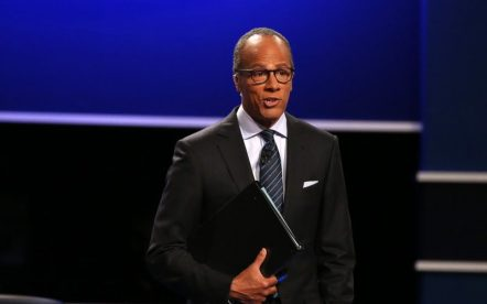 Debate moderator Lester Holt presides over the first presidential debate between Democrat Hillary Clinton and Republican Donald Trump on Monday, Sept. 26, 2016 at Hofstra University in Hempstead, N.Y. (Qin Lang/Xinhua/Sipa USA/TNS)
