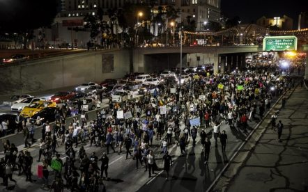 Anti-Trump protesters flood the 101 Freeway as they protest the President-Elect Donald Trump on Nov. 10, 2016 in Los Angeles, Calif. (Marcus Yam/Los Angeles Times/TNS)