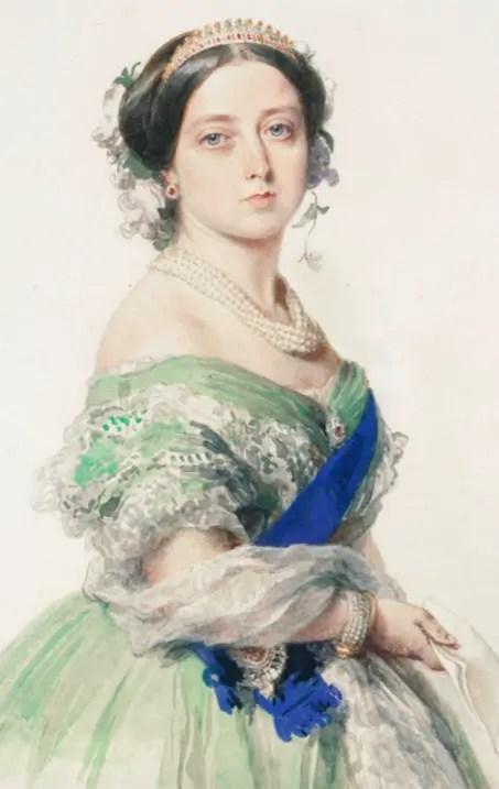 Aquarelle de la Reine Victoria par Franz-Xaver Winterhalter, en 1855 - collections royales de S.M. Elizabeth II