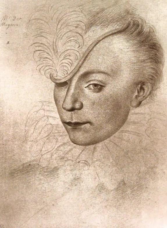 Dessin de Louis de Maugiron vers 1577 (le portrait ne manque pas de rappeler son oeil perdu au combat)