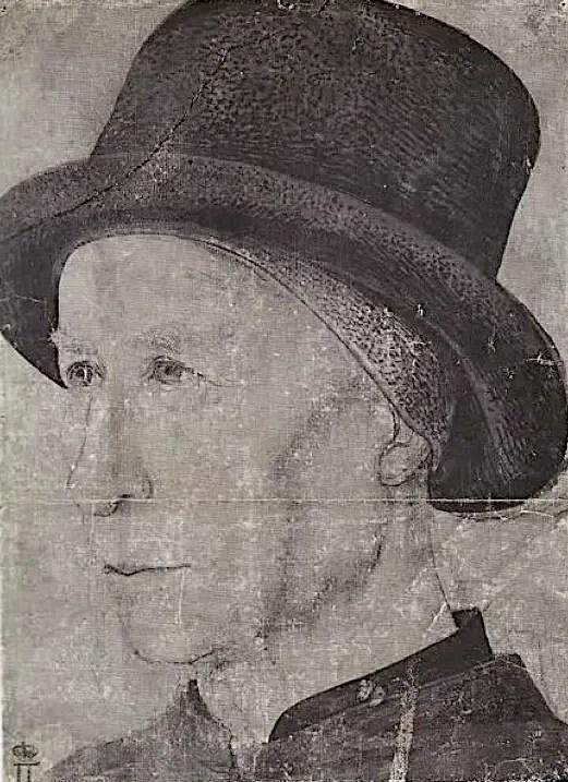 Dessin de Louis XI, contemporain et méconnu, « l'Homme au chapeau », attribué à Jean Fouquet. En mauvais état, il représente Louis XI âgé et servira de modèle au portrait peint par Lugardon – Cabinet des dessins du Musée de l'Hermitage, Saint-Pétersbourg