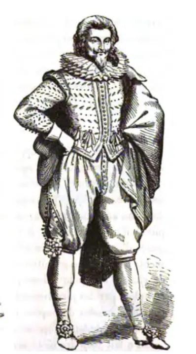 Gentilhomme à la mode de 1617 (gravure sur bois)