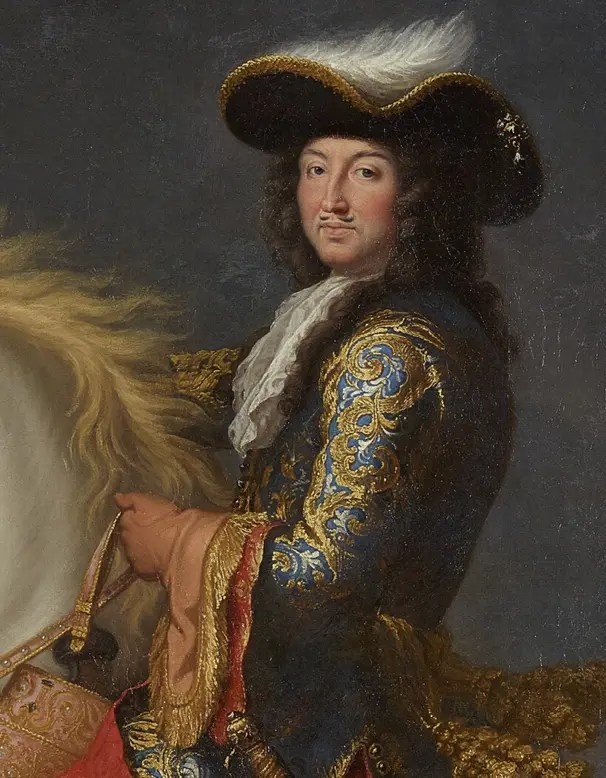 Détail d'un portrait équestre de Louis XIV vers 1674, par Charles Le Brun - Versailles