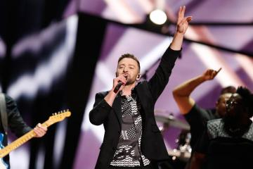"""STOCKHOLM, SWEDEN - MAY 14:  Justin Timberlake performs his new single """"Can't Stop The Feeling"""" at the Ericsson Globe on May 14, 2016 in Stockholm, Sweden.  (Photo by Michael Campanella/WireImage)"""