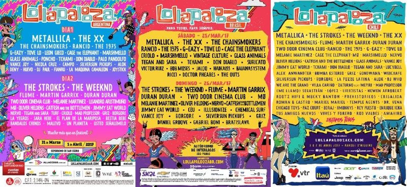 Lollapalooza Latin America 2017 Line Up Cusica Plus