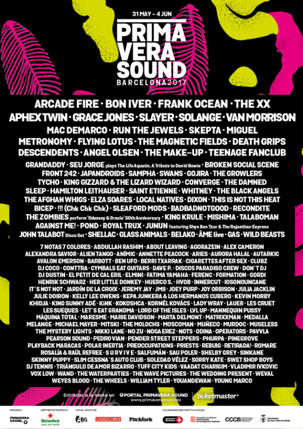 Primavera Sound 2017 Line Up Cusica Plus