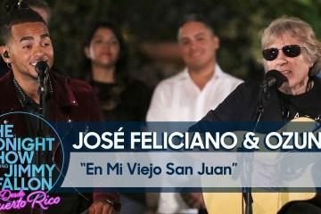 """Ozuna y José Feliciano se unieron en el especial de Jimmy Fallon y cantaron """"En mi viejo San Juan"""". Cusica Plus."""