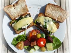 A mushroom, spinach and cheese open sandwich for British Sandwich Week - includes bread recipe