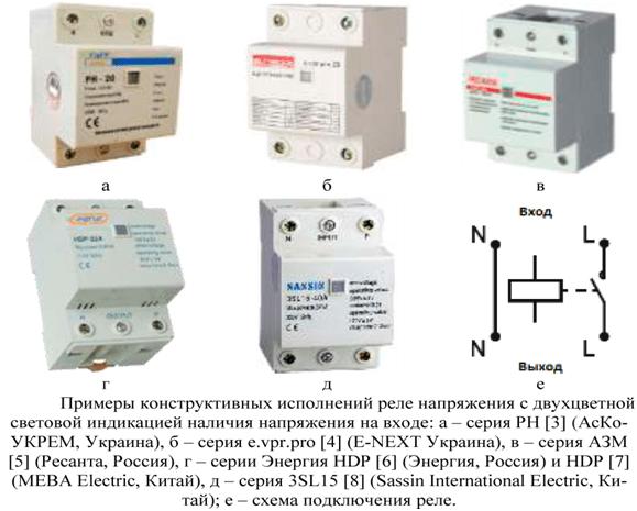 Примеры конструктивных исполнений реле напряжения с двуцветной индикацией