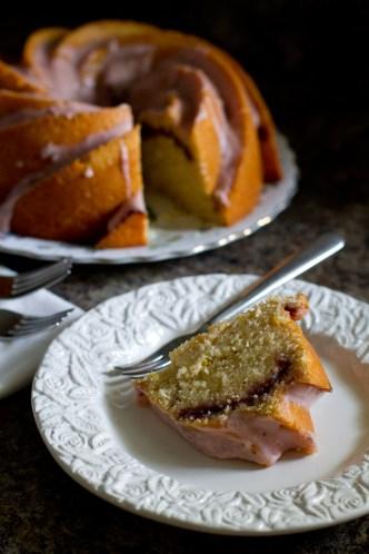 lemon raspberry swirl bundt cake