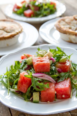 Watermelon Salad and Blake's All Natural Foods Beef & Turkey Pot Pies
