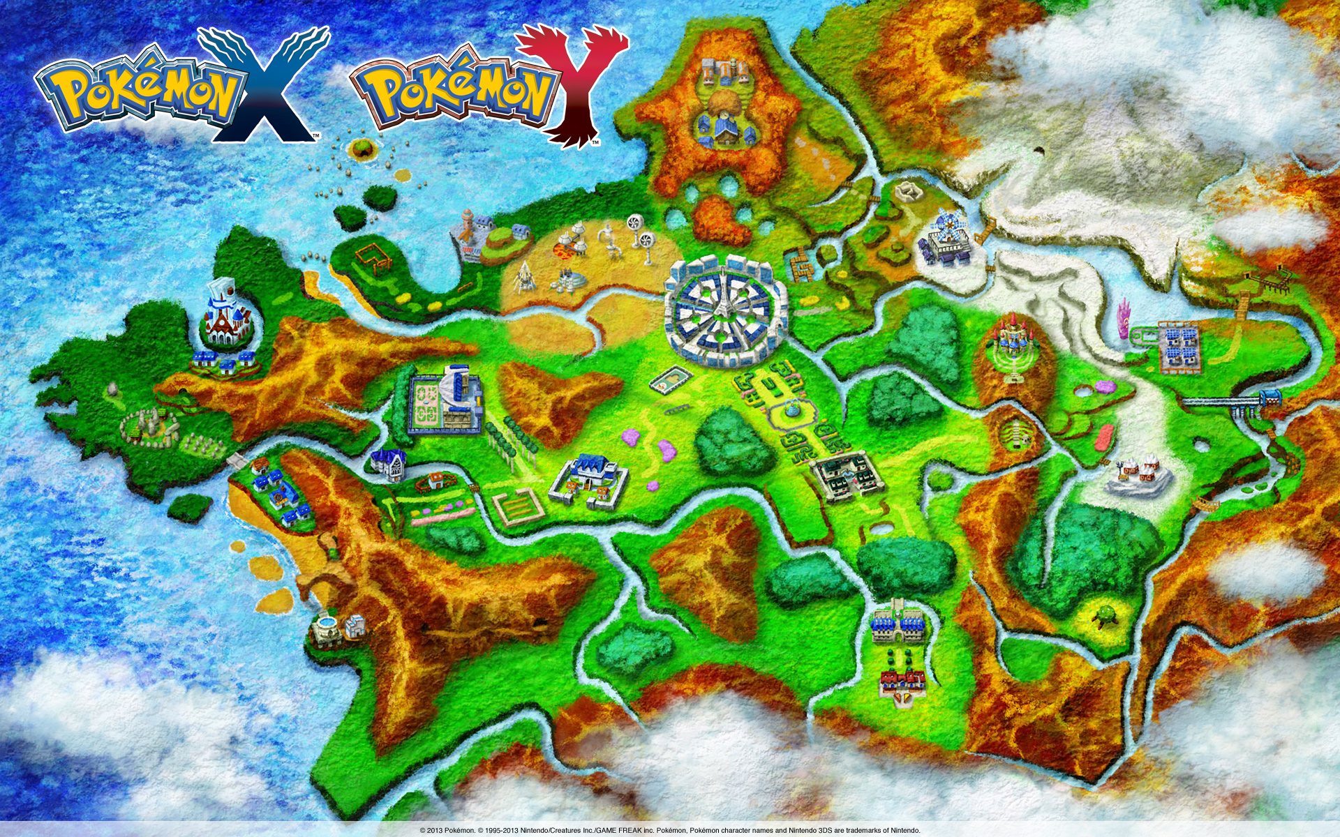 Pokemon X and Y Kalos Map full size, new gameplay ...